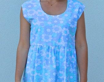 Summer sun dress, smock dress, peplum dress, day dress, pale blue, patterned vintage fabric,