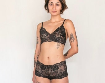 Dahlia Knickers,  Black Lace Knickers by Aniela Parys