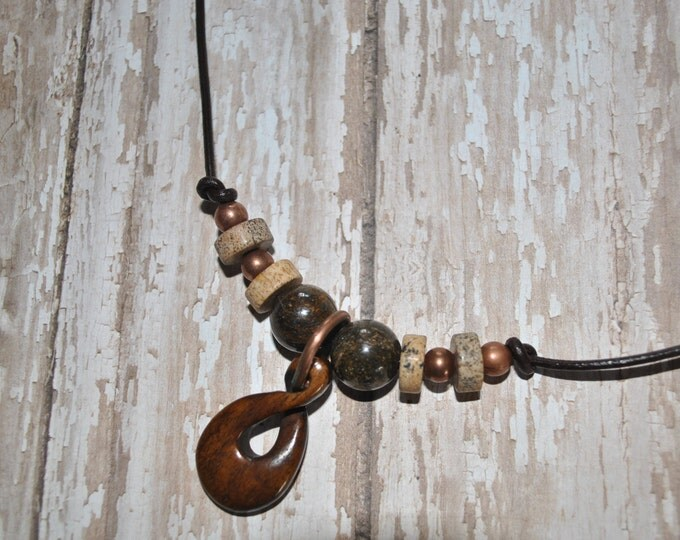 Men's Necklace of Infinity wooden pendant and stone beads on brown leather cord, Maori twist pendant