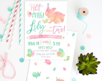 Easter Bunny Birthday Party Invitation DIGITAL FILE watercolor pastel spring time birthday Easter Bunny party Easter Egg Hunt Birthday