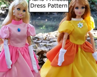 Super Mario Princess Dress sewing pattern! Digital download. Full color instructions. Fitted for barbie. Make Peach and Daisy!