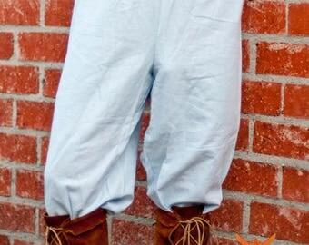 Linen Peasant Pants - Light Blue