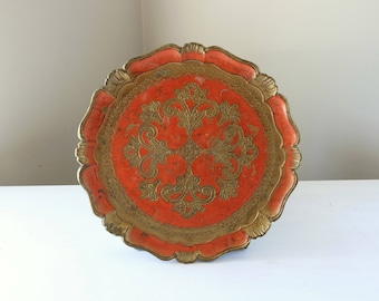 Italian Florentine serving tray, orange and gold, large tray