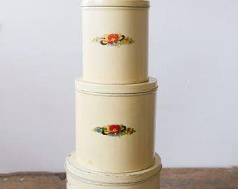 Vintage Cream Canisters - Set of Four