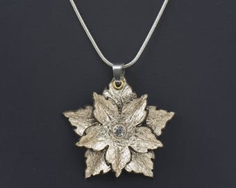 Leather flower pendant in Gold or Silver
