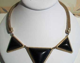 Vintage Black Triangle Mesh Necklace Geometric Costume Jewelry Gold Tone