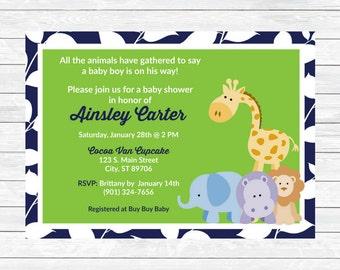 Safari Baby Shower Invitation - Jungle Baby Shower Invitation - Blue Green Shower Invitation - Printable Baby Shower Invitation