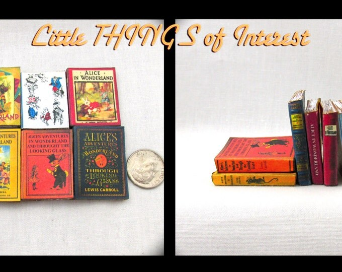 1:6 Scale ALICE IN WONDERLAND Set of 6 Prop Books Miniature Play Scale Books Faux Books