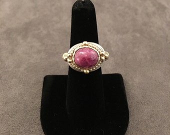 Ruby ring, 18K gold, sterling silver, 14K yellow gold, cabochon, size 8/8.5