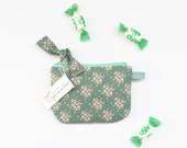 Bow Zipper pouch, Large Coin purse, Floral pouch, Gadget bag, Credit card holder