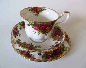 Royal Albert Old Country Roses, Footed Teacup, Saucer and Plate, Bone China, Montrose Shape, Red, Yellow Roses, Gold, Fluted, More Available