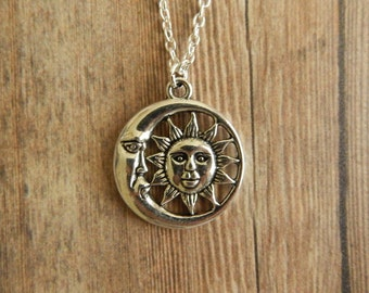 Sun And Moon Necklace, Sun And Moon Pendant, Silver Moon Necklace, Celestial Pendant, Silver Sun Necklace, Sun And Moon Charm Necklace