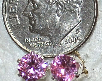 Pink Diamond Studs, 5mm Round, Russian Simulated, Set in Sterling Silver E1058