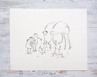 CUSTOM FAMILY portrait illustration, personalized family drawing, quirky, cute, whimsical, mother, father, son, daughter ORIGINAL sketch
