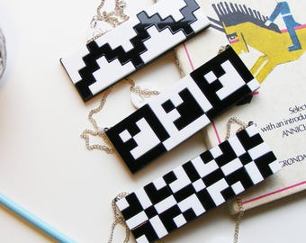 "Black and white grid Bib Necklace ""Norwegian Plastic"" laser cut"