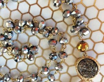Silver Lining Long Tassel Necklace, Long Beaded Necklace, Rosary Style, Long Pendant Necklace,  Boho, Tassel Necklace, Crystal Necklace