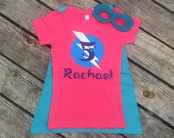 Girls Personalized Star Theme Superhero T-Shirt with Cape and Mask Custom Birthday or Party Super Hero Shirt with Lightening Bolt Initial