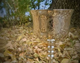 Pentagram Pentacle Chalice Goblet with Celtic Knots So Beautiful   Witch  Ritual Chalice Wiccan Pagan Altar Tool Medieval Goblet