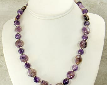 Cape Amethyst Necklace, Handmade Statement Necklace, Amethyst Gemstone Necklace, Bead Necklace, Purple Jewelry, Fashion Necklace