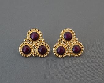 Vintage Purple Enamel Gold Tone Earrings, Delicate Three Flower Earrings Purple and Gold, Gold and Purple Earrings Pierced