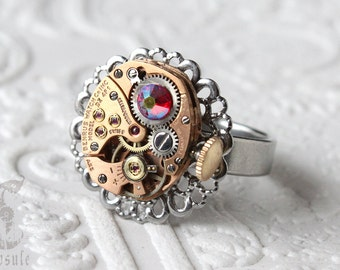 Steampunk Victorian Silver Round Filigree Stainless Adjustable Ring with Vintage Rose Gold Watch Movement and AB Red Swarovski Crystal