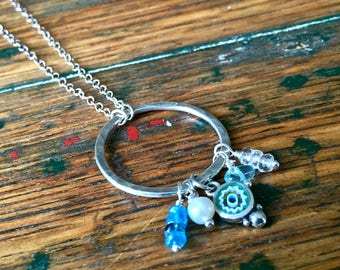 Hand Forged  Large Sterling Silver Circle Necklace with Mixed Gemstone Charms