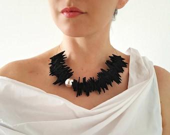 Statement black necklace Bib necklace Avant-garde necklace Modern necklace Contemporary beaded necklace Chunky necklace Unique necklace .