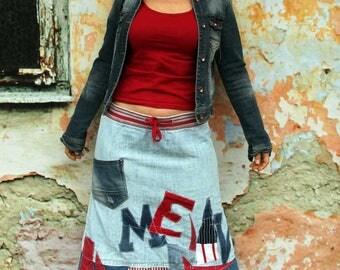 M-L  denim boro  appliqued recycled knee skirt hippie boho style