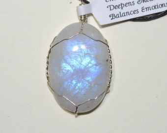 Rainbow Moonstone Crystal wire wrapped pendant