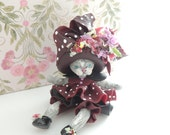 Kitten with Big Fancy Hat Miniature Figurine Collectible Doll