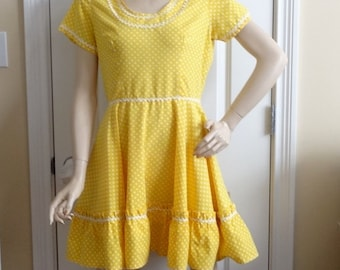 1970s Vintage Home Sewn Square Dance Dress in Yellow & White Polka Dots, Rick Rack, Sz 12-14, Vintage Square Dance Costume Dress, Rockabilly