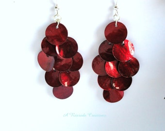 Red Mussel Shell Earrings Cascading Shell Earrings Chandelier Earrings Summer Beach Jewelry Boho Jewelry Womens Gift for her