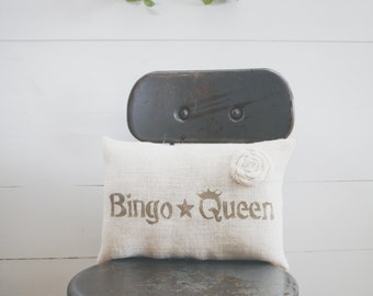 Bingo Queen pillow, home pillow, home decor, burlap pillow, fabric pillow, 14x9 accent pillow, farmhouse pillow