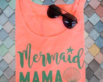 MERMAID MAMA Adult Womens Sparkly Glitter Ladies Mom Womens Tank Top - Black White Coral Any Sparkle Color