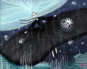 Princess Pelagus - Giclee Fine Art Print - Digital Painting - Fantasy, Dark, Black, Sea, Water, Underwater Blue Hair, Bubbles