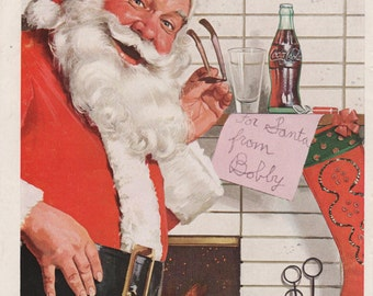 1950s Coca-Cola Ad Coca-Cola Santa Claus Ad Vintage Coke Ad Coke Collectible Christmas Collectible Santa Collectible 1950s Advertising