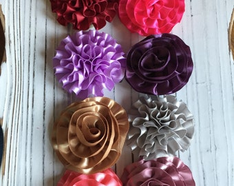 Satin Ribbon Flower Hair Clips