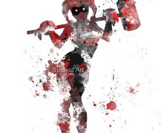 Harley Quinn ART PRINT illustration, Superhero, Super Villain, Batman, Home Decor, Wall Art