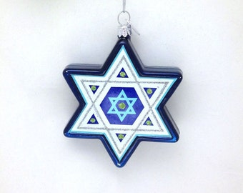 Star of David ornament - Personalized Hannukah Ornament - Blended Family Ornament - Beautiful Glass Ornament