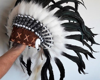 N40- From 5-8 years Kid / Child's: natural color feather Headdress 21 inch. – 53,34 cm.