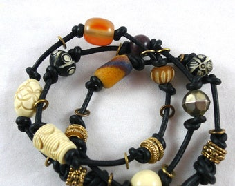 Handmade Knotted BRACELET & NECKLACE COMBO Vintage Beads Chunky Ethnic Style