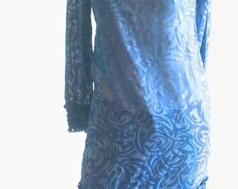Vintage Vicky Vaughn Dress / 60s cotton dress / vintage blue floral shift / summer dress / boho dress / designer dress / wardrobe prop