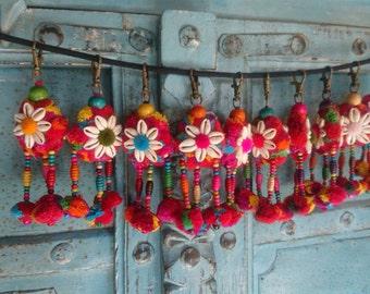 Pom pom Charm KeyChain Handmade Beads Cowry Shell Hmong Keyring Bag Accessory Wholesale Sets