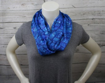 Blue Print Knit Infinity Scarf