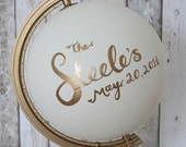 Wedding Guestbook Alternative Globe | Choice of Colours | Custom Lettering | Gold Stand | Hand Painted | Personalised Quote | Wedding Decor