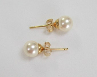 6mm Pearl Studs CREAM ROSE Small Pearl Stud Earrings GOLD, Swarovski Elements Pearl Simple Classic Elegant Vintage Bridesmaid Pearl Earrings