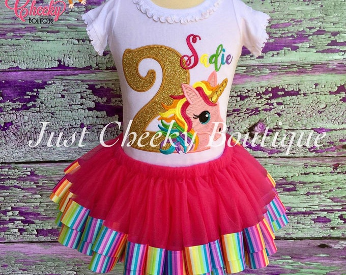 Unicorn Birthday Outfit - Unicorn Birthday Shirt - Rainbow Birthday Outift - Girls Birthday Shirt -Unicorn Tutu -Rainbow Shirt -1st Birthday