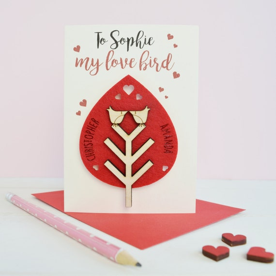 Valentine's card - love card - love birds - valentine's Day