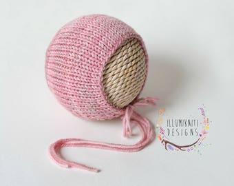Rosa Newborn Knit Bonnet - Newborn Simple Knit Bonnet - Newborn Photo Prop Bonnet - Light Pink Newborn Prop - Pastel Pink Newborn Bonnet
