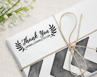 Custom Business Thank You Stamp, Personalized Packaging Stamp, Small Business Stamp. 3x1 Inches